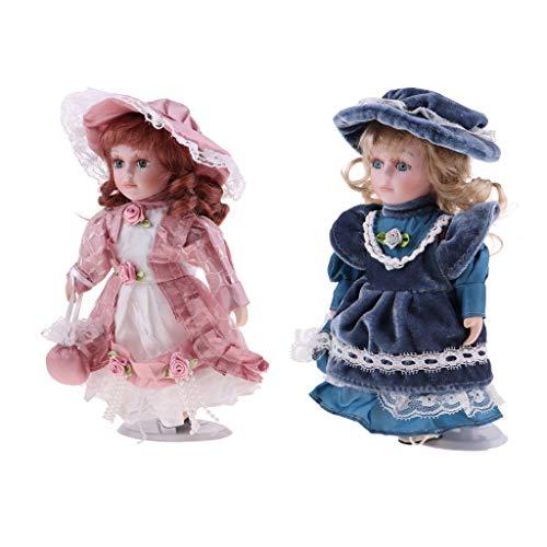 Prettyia 2Pcs 20cm Porcelain Doll Victorian Lady in Pink Dress Gown People Figure Vintage Dollhouse Miniature