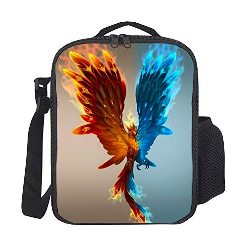 SARA NELL Ice And Fire Phoenix Kids Lunch Box Insulated Lunch Bag Large Freezable Lunch Boxes Cooler Meal Prep Lunch Tote with Shoulder Strap for Boys Girls