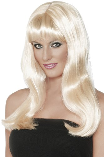 Smiffy's Women's Long Blonde Wig with Faux Skin Parting and Bangs, One Size, Mystique Wig, 42214 (Mystique Costumes)