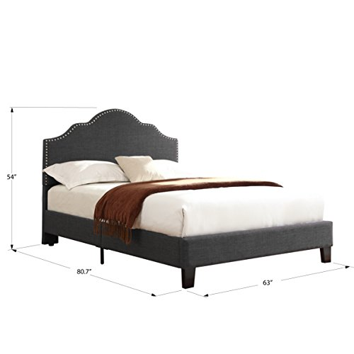Artum Hill BE4-230 Victoria Upholstered Bed, Queen, Charcoal