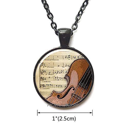 Yao0dianxku Violin Necklace,Charming Violin Jewelry,Violin Pendant,Fiddle Necklace,Handmade Jewelry,Music Notes Pendant,Fiddle Pendant.Y033 -