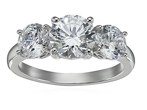- Platinum-Plated Sterling Silver Round 3-Stone Ring made with Swarovski Zirconia (4 cttw), Size 9