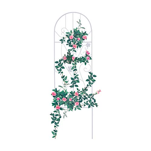 (GrayBunny GB-6900WH2, Garden Trellis for Vines and Climbing Plants, Black Metal Wire Lattice Grid Panels for Cucumber & Vegetables, Clematis Support, Rose Vines, Durable & Sturdy Beautiful Plant Decor)