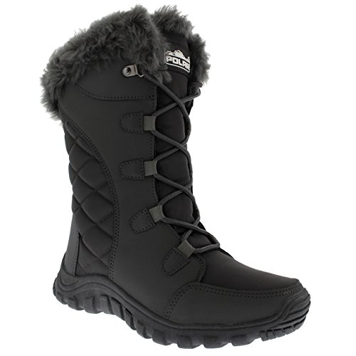 Snow Outdoor Quilted Duck Rain Up Lace Womens Boot Black Gray q1gHwXX