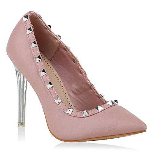 Stiefelparadies Damen Spitze Pumps Stilettos High Heels Leder-Optik Elegante Schuhe Flandell Rosa Nieten Avelar