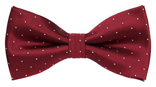 Flora&Fred Men's Designer Handmade Silver Pin Dot Bow Tie (Wine Pin Dot)