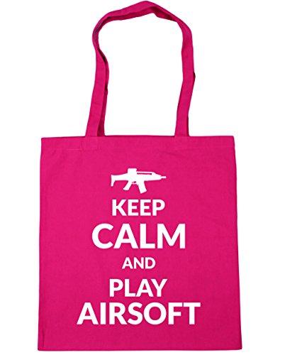 HippoWarehouse Keep calm and play Airsoft Tote Compras Bolsa de playa 42cm x38cm, 10litros fucsia