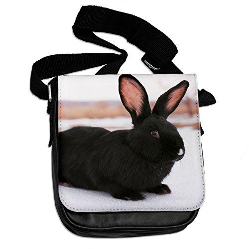 Borsa a tracolla di coniglio nero 039