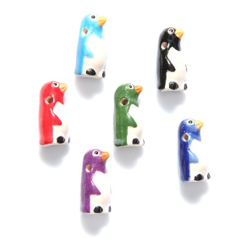 Shipwreck Beads 12 by 23mm Peruvian Hand Crafted Ceramic Penguin Beads, Assorted Color, 10 per Pack