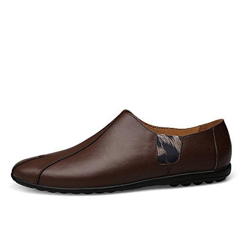 Mocassini Color morbida EU da da Shufang Dimensione 2018 on guida con eleganti a shoes Vamp uomo 38 in Slip pelle cucita Uomo Marrone Mocassini Scarpe vera Mocassini Da suola FwfrYwSqU