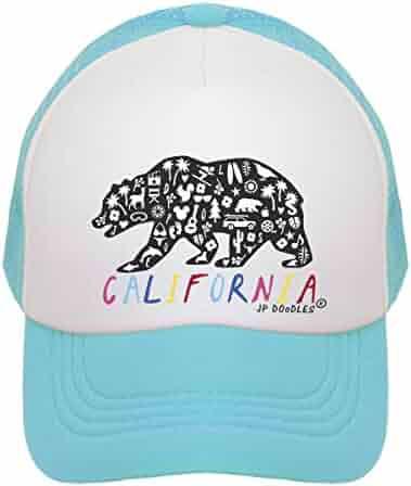 ef7819336d819 JP DOoDLES California Rainbow Bear on Kids Trucker Hat. The Kids Baseball  Cap is Available
