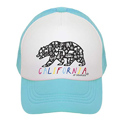 (JP DOoDLES California Rainbow Bear on Kids Trucker Hat. The Kids Baseball Cap is Available in Baby, Toddler, and Youth Sizes (Teal, Youth (5-7 YRS)))