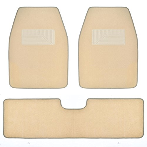 BDK MT-273-LB 3 Pieces Car FullProtect Heavy Duty Auto Mat with Heel Pad Station for Sedan SUV Truck Minivan CarMats-Thick Carpet for Maximum Floor Protection-Easy to Clean (Light Beige)