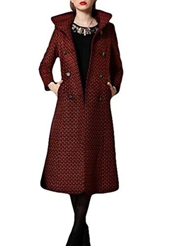 En Coréen Version Manteau Trench Long Slim Brique Plaer Élégant Rouge Cachemire Marron Femme fqwxp8CA