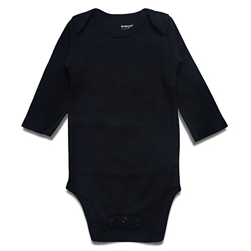 ROMPERINBOX Unisex Solid Baby Bodysuit 0-24 Months (12-18 Months, Black Long - Sleeved Shirt Preemie Long