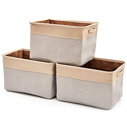 EZOWare Set of 3 Collapsible Large Cube Fabric Linen Canvas Storage Bins Baskets for Shelves Cubby Laundry Playroom Closet Clothes Shoe Baby Toy with Handles (Gray/Cream)