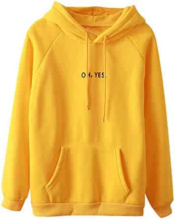d4ecf64891c XOWRTE Women s Long Sleeve Autumn Oh Yes Print Hoodie Pullover Hooded  Sweatshirt