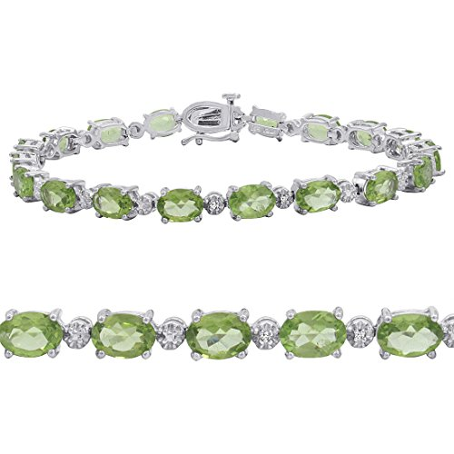 Peridot and Diamond Tennis Bracelet set in Sterling Silver 7 1/2 inches