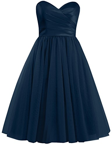 Cdress Tulle Robes Courtes De Demoiselle D'honneur Robes De Cocktail Chérie Robe De Retour À La Maison Navy_blue