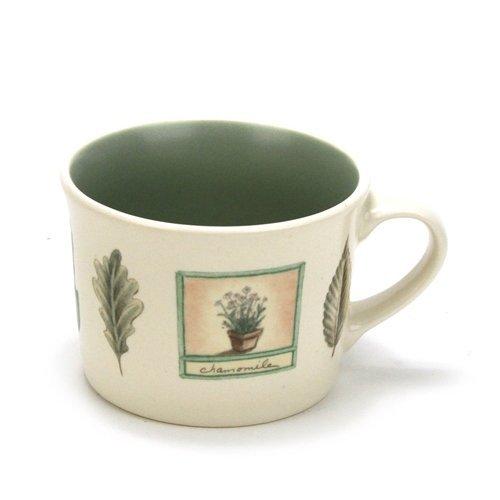 Pfaltzgraff Naturewood USA SET/4 ~ Flat Mugs Cups (Green inside) ~Stoneware~Casual, Leaves/Herbs/Garden Tools