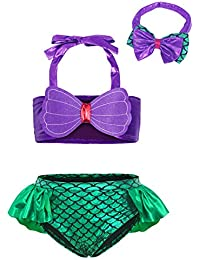 Cotrio 3Pcs/Set Kids Toddler Baby Girl Mermaid Swimsuits Tankini Swimming Suit Halter Swimwear Bikini Set with Headband Size 12M (80, 6-12Months, Green)
