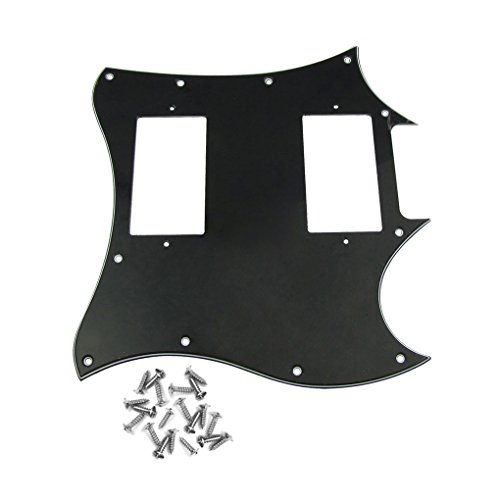 Pickguard Gibson Screws (IKN SG Pickguard Scratch Plate 3Ply Black with 20 Screws for SG Style Guitar Pickguard)