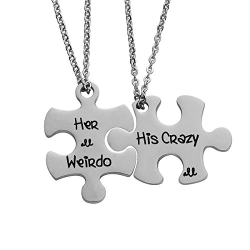 - omodofo Valentine's Day His and Hers Puzzle Piece Pendant Necklace/Keychain Set Personalized Couples Stainless Steel Hand Stamped Gift Jewelry Chain/Keyring (His Crazy & Her Weirdo (Necklace))