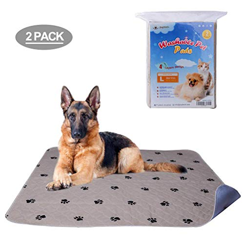PUPTECK 2 Pack Washable Dog Pee Pads - Waterproof and Reusable Whelping Mat for Puppy Housebreaking...