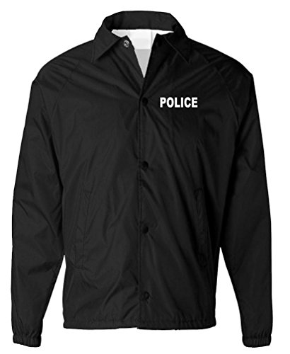 Coaches Police - Police - Sheriff Officer Patrol Windbreaker - Mens Coaches Jacket, 2XL, Black