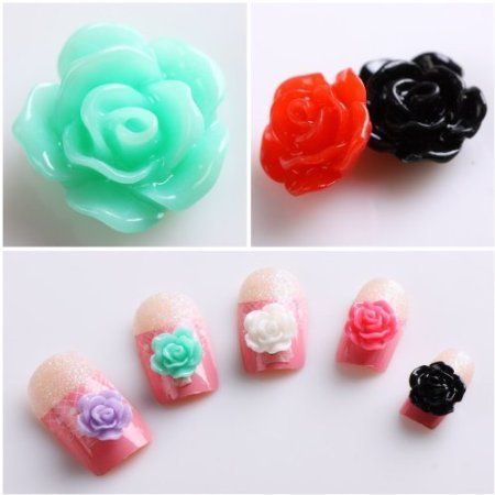 350buy 20pcs New Colorful Acrylic 3D Rose Flower Slices UV Gel Nail Art Tips DIY - Flowers Acrylic