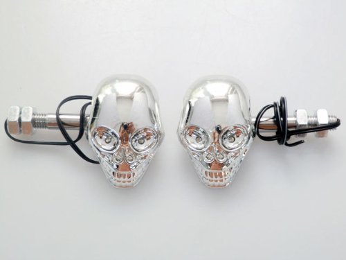 Excellent 2 PCs LED 3D Skeleton Skull Shape Motorbike Turn Signals Indicators Blinker Amber Light For Honda Kawasaki Yamaha Suzuki