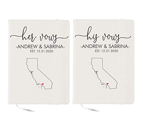 (Custom Vows Books Wedding Vows Books Wedding State Map Personalized Vow Books His and Hers)