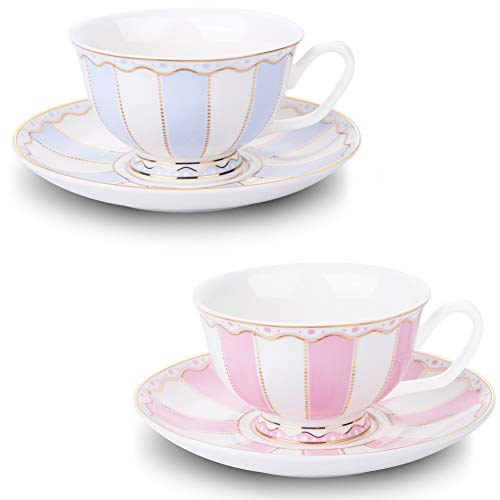 AWHOME Vintage Ceramic Teacup and Saucer Set 7 oz (Pink Blue) (Saucer Footed Teacup)