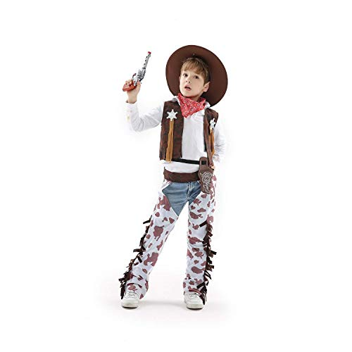 Honey Box Cowboy Kid Costume, Medium(5-7 Years) Brown -