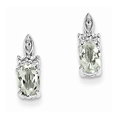 Solid 925 Sterling Silver Diamond & Simulated Green Quartz Earrings (.01 cttw.) (12mm x 5mm)