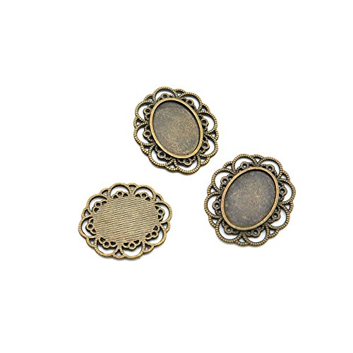 5pcs Jewelry Making Charms Jewellery Charme Antique Brass Tone Fashion Finding for Necklace Bracelet Pendant Earrings Repair DIY P7YD8 Oval Cabochon Frame Setting 18x13MM (Earring Cabochon Oval Setting)