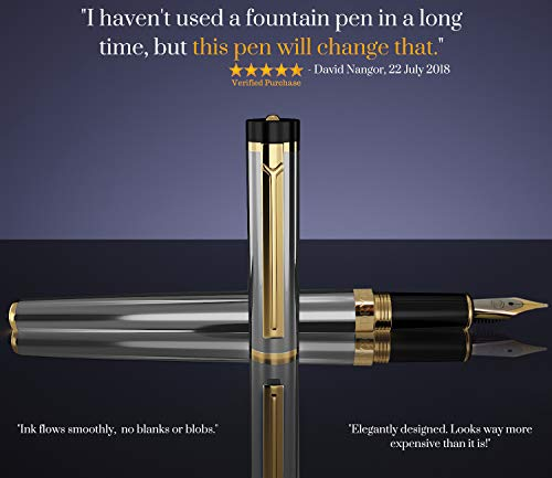 Dryden Designs Fountain Pen Medium Nib, Includes Gift Box and Ink Refill Converter, Classic Writing Tool [Metallic Silver] for Left and Right Handed