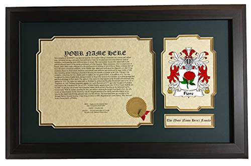 Fiore - Coat of Arms and Last Name History, 14x22 Inches Matted and Framed