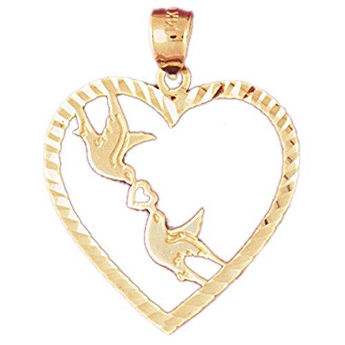 14K Yellow Gold Love Birds Heart Pendant Necklace - 28 mm 14k Yellow Gold Love Birds
