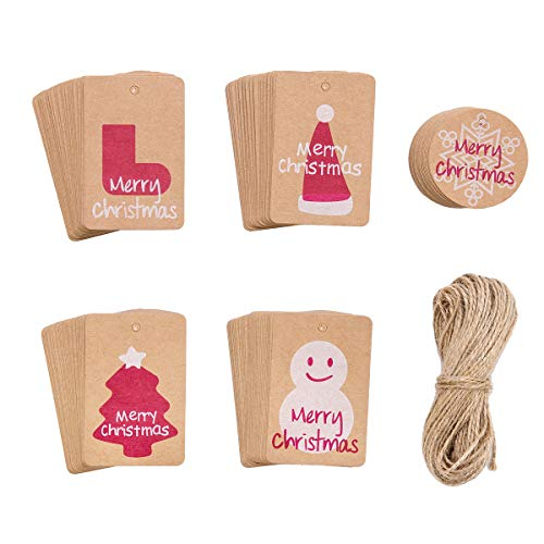 150 Pack Christmas Gift Tags Brown Kraft Paper and String Smooth for Writing – 5 Designs for DIY Xmas Holiday Present Wrap Stamp and Label Package Name Card Party Supplies