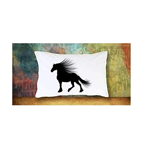 GIRL & HER HORSE PILLOW CASE BEDDING, Cute Silhouette Standard Pillowcase for Daughter - Niece - Girls Who Love Horses, Great Under $20 Gift for Bedroom Decor (# 1, White)