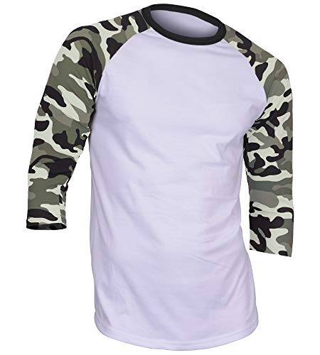 DREAM USA Men's Casual 3/4 Sleeve Baseball Tshirt Raglan Jersey Shirt Light Camo Medium ()