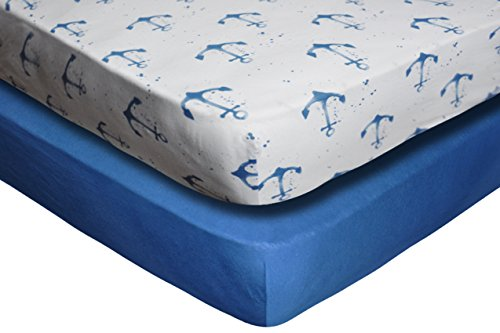 Crib Sheet Set by Upstreet: 100% Cotton Value Jersey Knit Fitted Portable Baby Crib Sheet, Boy, Blue, 2 Count by Upstreet