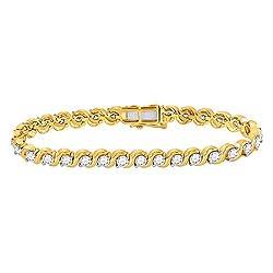 Yellow Gold Womens Round Diamond Tennis Bracelet