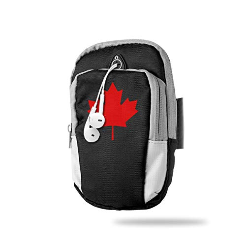 (XUDONGXU Cell Phone Armband Case Holder Canada Leafs Phone Holder Pouch with Adjustable Velcro & Key Holder to Hold Money, Cards and Keys for Running & Working Out, Walking, Hiking)