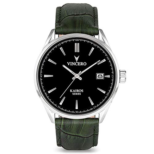 Vincero The Kairos Dial Leather Strap Men's Watch BLA-OLI-K10
