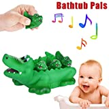 Gbell Squeak Baby Bath Toys Set - Cute Shark Family Bathtub Pals - Hippopotamus Crocodile Dolphins...