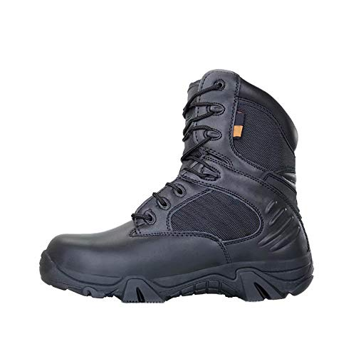 Ifantasy Men's Military Tactical Boots Waterproof Hiking Combat Boots Army Comp Toe Side Zip Work Boots Black