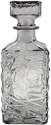Noble decantador de vidrio, jarra decantadora para whisky, vino, ron, coñac, vodka y muchos otros licores / botella de whisky con tapa de vidrio, 1000ml / antracita