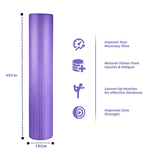 spinway Yoga Foam Roller Speckled Foam Rollers for Muscles Extra Firm High Density for Physical Therapy Exercise Deep Tissue Muscle Massage (Puple) by spinway (Image #8)